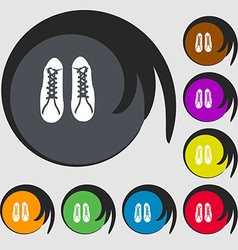 Shoes icon Symbols on eight colored buttons vector