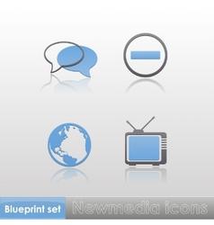 Simple blue-grey new media globe tv stop sign talk vector