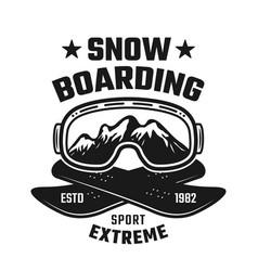 Snowboarding winter extreme sport emblem vector