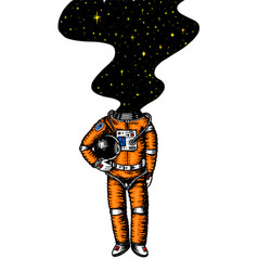 Soaring spaceman space and galaxy in head vector