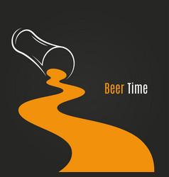 spilled beer glass design background beer logo vector image