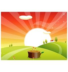 Sunrise rolling landscape vector image vector image