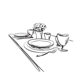 Table setting set weekend breakfast or dinner vector