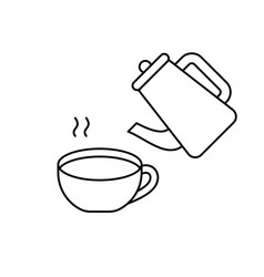 Teapot steam cup with hot water linear icons vector