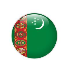 turkmenistan flag on button vector image