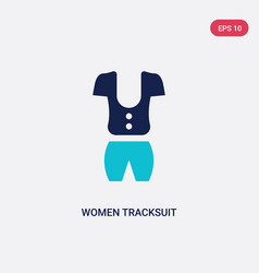 Two color women tracksuit icon from fashion vector