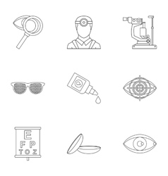 Vision icons set outline style vector image
