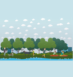 walking with dog in park flat vector image