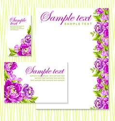 card with pink peonies vector image vector image