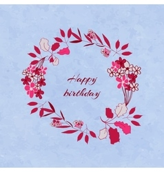 Floral birthday wreath vector image