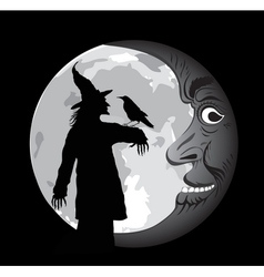 halloween poster with moon vector image vector image