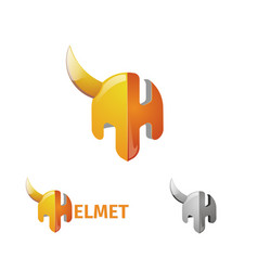 half helmet and letter h the logo of the armor of vector image
