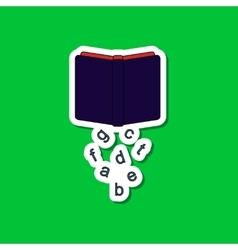 Paper sticker on stylish background alphabet book vector