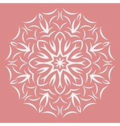 Round white flower pattern on pink background vector image