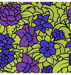Seamless floral texture with purple blue flowers vector image