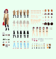 Animate character young lady character vector