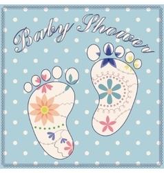 Background baby shower boy vintage vector