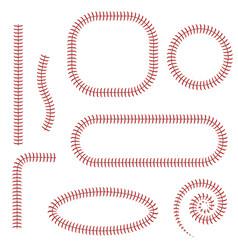 baseball stitches set vector image