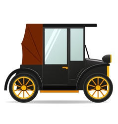 cartoon old retro car in black color vector image vector image