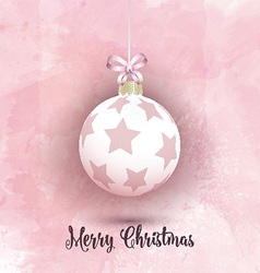 Christmas bauble on a pink watercolor background vector image vector image
