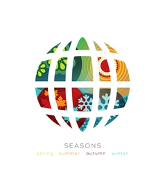 Globe with four seasons concept vector image