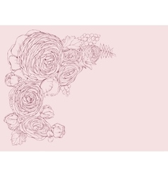 Greeting pink horizontal card with linear peony vector image vector image