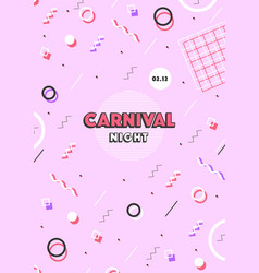 pink carnival poster abstract memphis 80s 90s vector image vector image