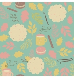 Seamless pattern cookies and mugs of tea vector image