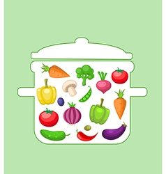 Vegetables in the pan vector image