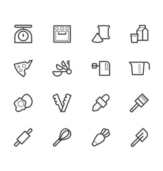Bakery tools black icon set on white background vector