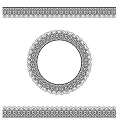 Black detailed border and circle frame vector