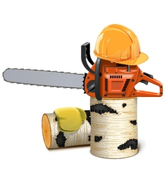 Chainsaw with Helmet and Birch Firewood vector image vector image