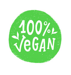 100 percent vegan badge sign vector image