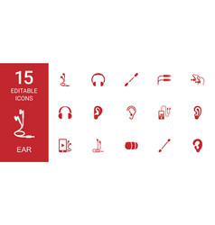 15 ear icons vector image