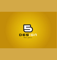 5 number numeral digit white on yellow background vector image