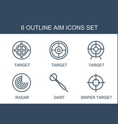 6 aim icons vector