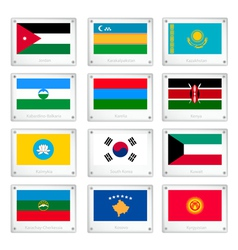 A collection of national flags on metal texture vector