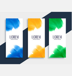 abstract watercolor vertical banners set in three vector image