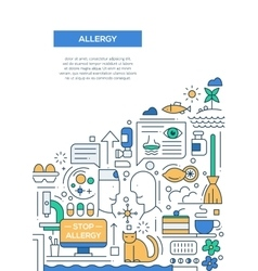 Allergy - line design brochure poster template A4 vector