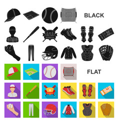 baseball and attributes flat icons in set vector image