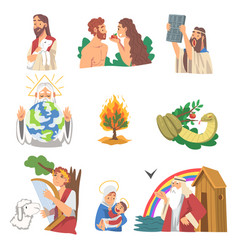 Bible narratives with adam and eve burning bush vector