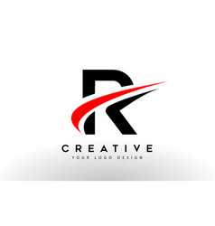 Black and red creative r letter logo design with vector