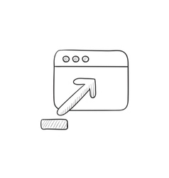 Browser window with upload sign sketch icon vector image