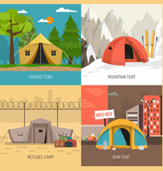 Camping tent concept 4 icons square composition vector
