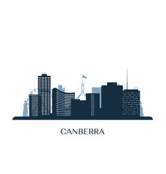 canberra skyline monochrome silhouette vector image