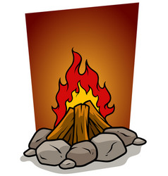 cartoon bonfire campfire with stones icon vector image