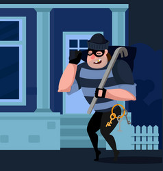 Cartoon color character person thief sneaks into vector