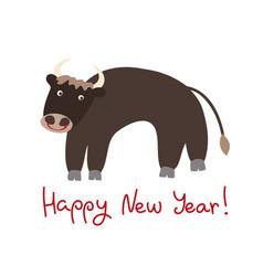 cartoon ox symbol new year 2021 vector image