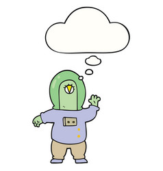 Cartoon space alien and thought bubble vector