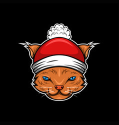 cat merry christmas vector image